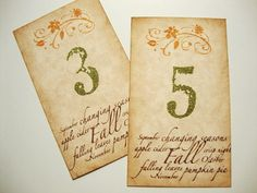 Autumn Wedding Table Number Cards