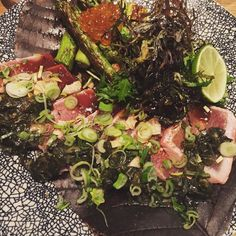 #tuna #tataki #asparagus #foodporn #delicious #kimchi by natalie_lindner