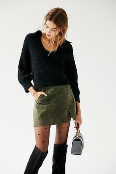 Midnight Memory Skirt - Suede Army Green Skirt - Suede Mini Skirts - Olive Mini Skirts - Green Mini Skirts - Suede Skirts