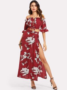 48214bf3355e2 Shop Knot Front Crop Bardot Top And High Slit Skirt Set online. SHEIN  offers Knot Front Crop Bardot Top And High Slit Skirt Set   more to fit  your ...