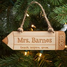 Teach, Inspire, Grow Personalized Wood Ornament   Personalized Planet