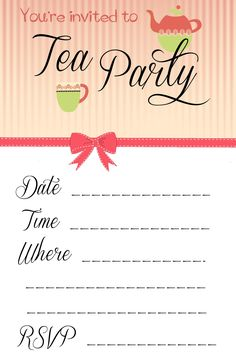 Free Afternoon Tea Party Invitation Template Tea Party Pinterest