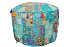 Patchwork Round Ottoman Pouf Cover, Indian Ottoman Bean Bag Foot Stool, Embroidery Gypsy Floor Pouf Cover, Hippie Meditation Floor Cover Pouf Ottoman, Ottoman Cover, Upholstered Ottoman, Floor Seating Cushions, Floor Pillows, Throw Pillows, Bean Bag Rounds, Turquoise Cushions