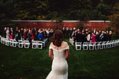 Loving the back on this gorgeous offshoulder wedding dress | Photo by The Spragues