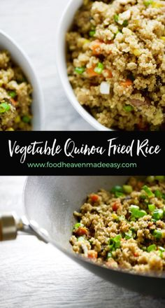 Vegetable Quinoa Fried Rice - Food Heaven Made Easy Vegetarian Recipes, Cooking Recipes, Healthy Recipes, Vegetable Quinoa, Vegetable Dishes, Clean Eating, Healthy Eating, Healthy Food Choices, White Rice