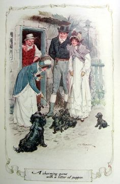 A charming game with a litter of puppies - Northanger Abbey, 1907