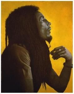 Bob Marley oils on canvas music portrait painted by George Underwood