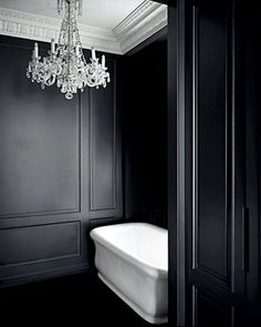 Black walls in the bath... via Beautiful And Luxurious