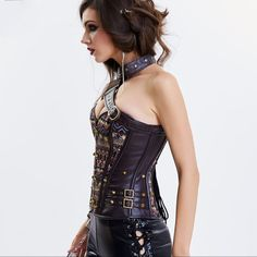 ae21c1d9f9 Leather Armor Sexy Vintage Steampunk Corset  womensfashion  VintageCorsets  Pirate Corset