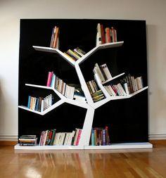 """Bibliothèque """"Tree"""" conçue par le jeune designer français Wesley Deglise Tree Bookshelf, Bookshelves, Canapé Design, Wall Design, Apartment Interior Design, Interior Decorating, Etagere Design, Painted Stairs, Funky Furniture"""