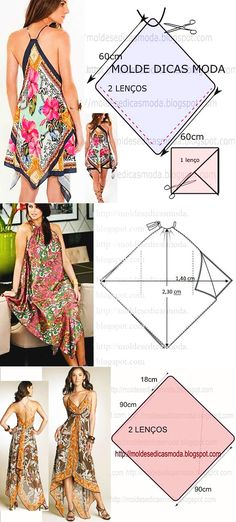 The video consists of 23 Christmas craft ideas. Coat Patterns, Dress Sewing Patterns, Clothing Patterns, Scarf Dress, Diy Dress, Fashion Sewing, Diy Fashion, Sewing Blouses, Diy Kleidung