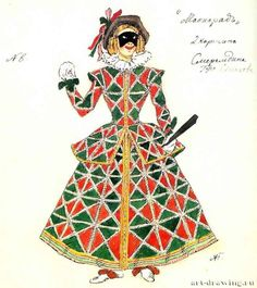Russian Painting, Russian Art, Fashion Art, Vintage Fashion, Venetian Carnival Masks, Italy Images, Harlequin Pattern, Pierrot, Theatre Costumes