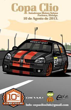 Clio Sport 172 by Alex Maldonado Clio Williams, Clio Sport, Car Illustration, Automotive Art, Custom Cars, Cool Cars, Race Cars, Automobile, Sports