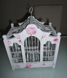 Vintage Wooden Bird Cage, painted white with hand painted roses