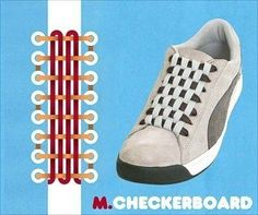 15 Cool Ways To Tie Shoelaces 15 Cool Ways To Tie Your Cyclone Health Shoelaces: Checkerboard Up Shoes, Shoe Boots, Ways To Tie Shoelaces, Ways To Lace Shoes, Nike Air Jordan, Creative Shoes, Damier, Cooler Look, Nike Air Force Ones