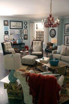 nautical living room-paint color, letters,