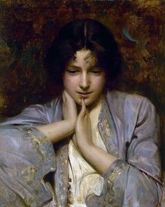 Arthur Hacker (British painter) 1858 - 1919 Portrait of a Girl, 1896 oil on canvas 38 x 46 cm. Figure Painting, Painting & Drawing, L'art Du Portrait, Pre Raphaelite, Classical Art, Beautiful Paintings, Oeuvre D'art, Figurative Art, Female Art