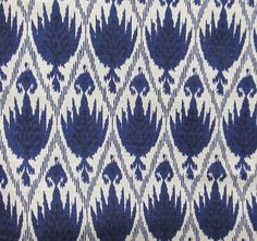 Casablanca Ikat Blue on white flax by reneesfabrics on Etsy, $24.50