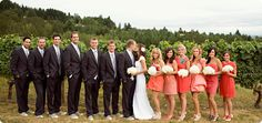 coral dresses wedding and black suits