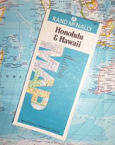 1990 MAP of Honolulu and Hawaii  Rand McNally  Kauai by BunnysLuck, $2.99