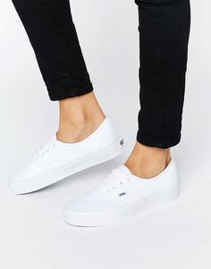 Image 1 ofVans Authentic Classic White Lace Up Trainers