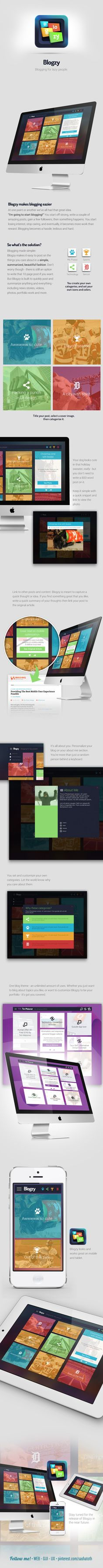Blogzy | Blogzy - blogging for lazy people. Blogzy makes it easy to post about the things you care about in a simple, summarized, beautiful fashion. You set your own categories and topics and customize the site with your own style. | Designer: Tim Meissner