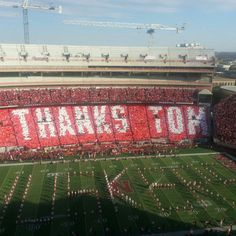 We love you Tom Photo by nebraskahuskers! mike and michaela were a part of this!!