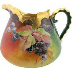 Just Gorgeous!  Pickard Handpainted cider pitcher, signed.
