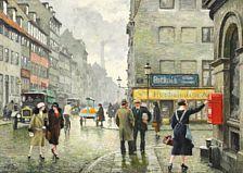 Ældre malerier: Paul Fischer: Gadescene fra København ved hjørnet af Gothersgade og Store Regnegade. En ung pige sender et brev. Sign. Paul Fischer. Olie på lærred. 39 x 57.