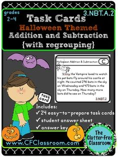 Addition Subtraction Task Cards - These task cards are perfect for Halloween, but they can be used at ANY time of year! You'll get 24 task cards with a Halloween theme that include 3 digit addition and subtraction equations that are perfect for your 2nd, 3rd, or 4th grade classroom! $