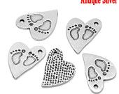 6 - Antique Silver BABY FEET HEART Stamped Charm Pendants 21x15mm .