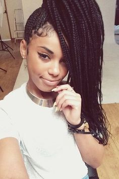 How to style box braids: 50 Stunning Ideas From Pinterest. Always wanted to try this! Maybe in red too! http://www.shorthaircutsforblackwomen.com/natural_hair-products/