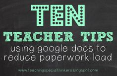 Teaching Special Thinkers: Be Proactive: 10 ways to use Google Docs to collect and store data!
