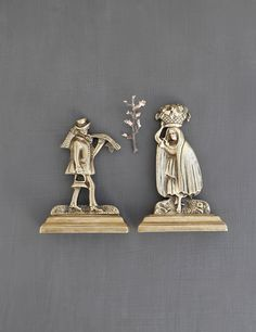 "Vintage Brass Man and Woman Figurines - 5"" pair of antique Victorian fireplace mantel ornaments shelf decorations by CuriosityCabinet"