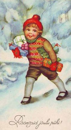 Russian Boy with Presents Vintage Christmas Postcard
