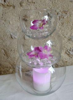 pyramide vases boule en verre pour mariage