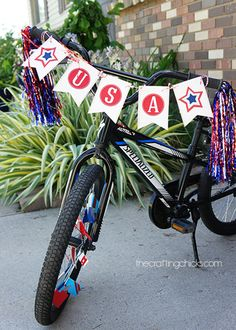 bike flags for the annual 4th of July parade!