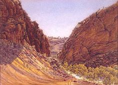 Simpson Gap in West Macdonnell Ranges, Central Australia, Northern Territory - by Albert Namatjira Aboriginal Man, Aboriginal History, Aboriginal Artwork, Aboriginal Artists, Aboriginal Education, Paintings I Love, Colorful Paintings, Watercolour Paintings, Dot Painting