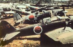 Imperial Japanese navy airfield - Atsugi arfield, Kanagawa Japan, 1945. Aichi - SUISEI (彗星) Mitsubishi - RAIDEN (雷電) Mitsubishi - TYPE ZERO (零式艦上戦闘機) Nakajima - GEKKO (月光) Yokosuka - GINGA (銀河).