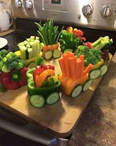 Vegetable choo choo train.
