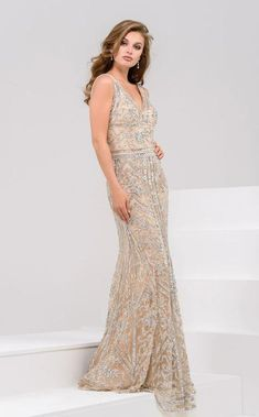 16bbb744740 Buy the 33007 Embellished Deep V-neck Trumpet Dress by Jovani at  CoutureCandy.com