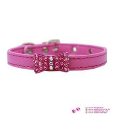 Collar Rosa Perro Pequeño con Arco con Strass - Collar de falso cuero de color rosa vivo , para un perro pequeño (Chihuahua, caniche, maltés), que se caracteriza por un arco con strass en el centro