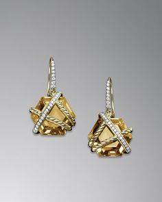 Cable Wrap Earrings, Champagne Citrine, 14mm by David Yurman at Neiman Marcus.