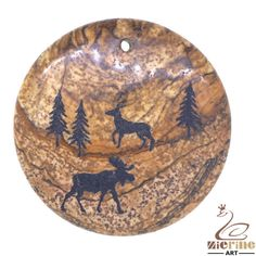 Western Pendant Hand Painted Deer Natural Picture Jasper necklace ZL00964 #ZL #Pendant