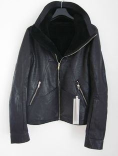 BNWT RICK OWENS LEATHER SHEARLING STAG BIKER JACKET,FUNNEL NECK,GEO,5315$,2012AW #RICKOWENS #BikerJackets
