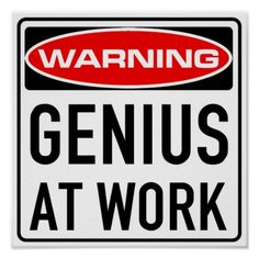 Genius At Work Funny Warning Road Sign Posters
