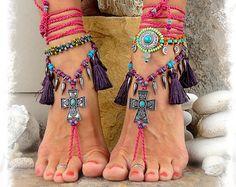 Pink Candy CROSS BAREFOOT Sandals Purple Tassel sandals Christian Wedding Native Indian Cowgirl Rockstar Sandal crochet foot jewelry GPyoga