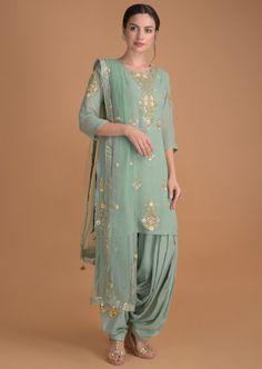 Spruce Green Salwar Suit With Floral Embroidered Neckline And Buttis Online – Kalki Fashion Punjabi Suits Designer Boutique, Indian Designer Suits, Designer Suits Online, Boutique Suits, Designer Salwar Suits, Indian Suits, Designer Sarees, Party Wear Indian Dresses, Dress Indian Style