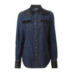 DSQUARED2 Denim Shirt ($1,124) ❤ liked on Polyvore featuring tops, blue, shirts & tops, longsleeve shirt, blue long sleeve top, denim shirt and long sleeve tops