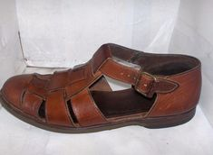 COLE HAAN WOMENS BROWN LEATHER FISHERMAN SANDALS SIZE 8.5 M BRAZIL.. #ColeHaan #Slingbacks #Casual
